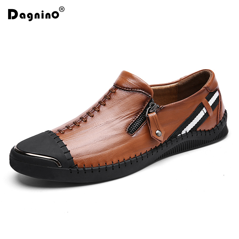 DAGNINO New Brand Genuine Leather Casual Shoes Men's Comfortable Footwear Fashion Men Walking Drive Loafers Lazy Shoes Zapatos vesonal brand casual shoes men loafers adult footwear ons walking quality genuine leather soft mocassin male boat comfortable