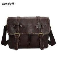 Handmade Genuine leather Camera bag Handbags Men Crossbody Bags Oil wax Shoulder Bag Superior quality Men bags