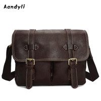 Handmade Genuine leather Camera bag Handbags Men Crossbody Bags Oil wax Shoulder Bag Superior quality Men bags
