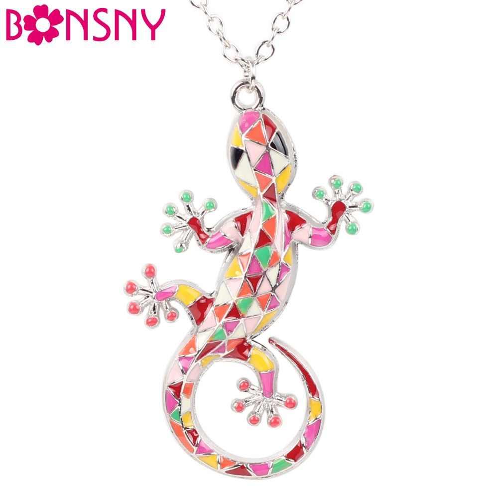 Bonsny Массивный воротник, сплав, эмаль, геккон, ящерица, ожерелье, длинная цепочка, подвеска, новости, колье, модное ювелирное изделие для женщин, аксессуары