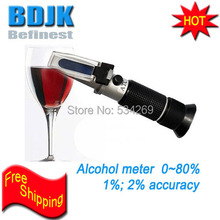 0-80% ATC Alcohol Refractometer Tester Ethanol Refractometers for Wine VOL Measuring Tool