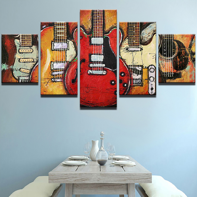 Modern Canvas Painting HD Printed Wall Art Frame Modular Pictures Living Room Decor 5 Pieces Abstract Guitar Music Poster PENGDA