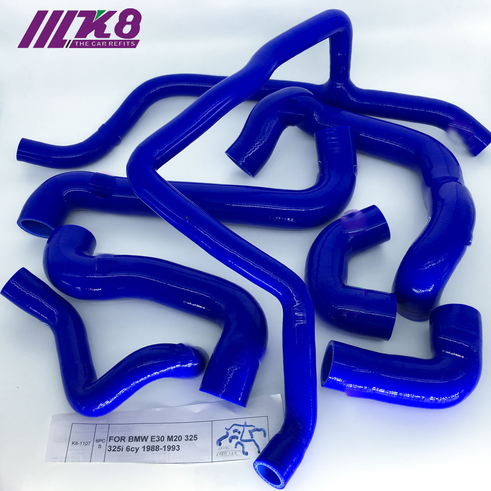 WATER SILICONE RADIATOR HOSE FOR <font><b>BMW</b></font> <font><b>E30</b></font> M20 325 325i 6cy 1988-1993 (6Pcs)Red/Blue/Black image