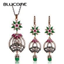 Blucome Resina Collar Pendiente de la Flor Establece Ahuecar Mosaico Turco Mujeres Sistemas de La Joyería Colgantes de Cristal de Boda Nupcial de La Vendimia