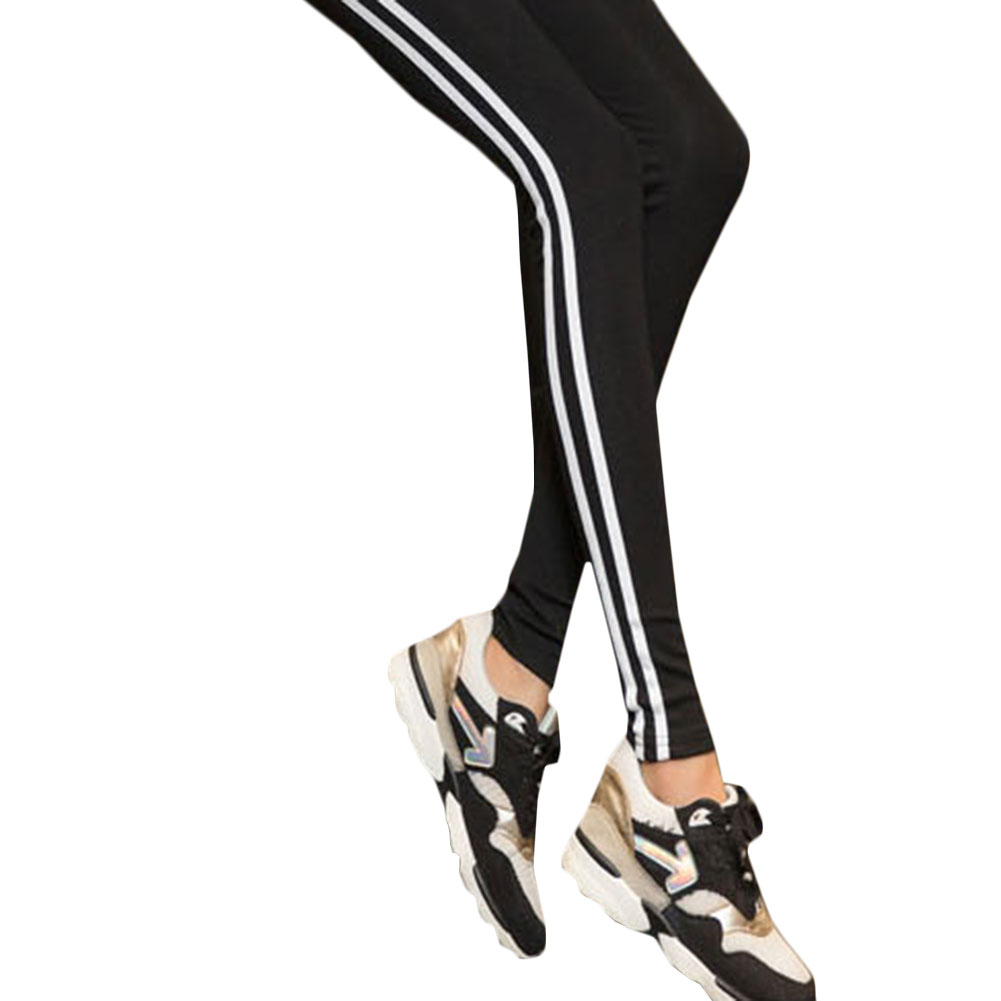 все цены на Women Elastic Waist Pants Sports Tight Pants High Waist Slim Running Tights Fitness Leggings Female