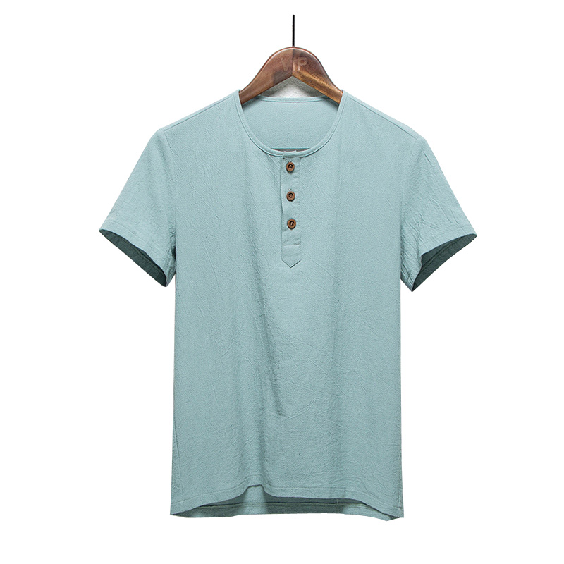 Summer Men Shirt Linen Cotton Man Clothing Solid Flax Men
