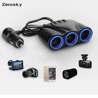 Zerosky 3USB Port 3 Way Auto Car Cigarette Lighter Socket Splitter Charger Plug Adapter DC 12V 1A+2.1A For iphone Xiaomi Samsung