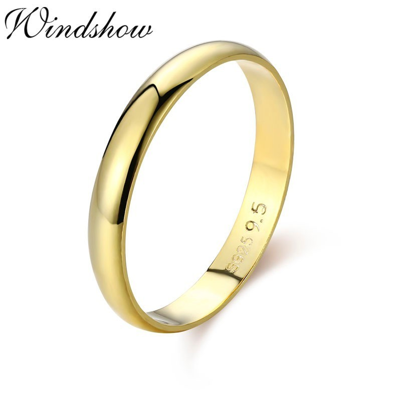 Simple 925 Sterling Silver Gold Color D Shape Band Wedding Engagement Rings For Women Finger Men Jewelry Bague Anillos Anelli