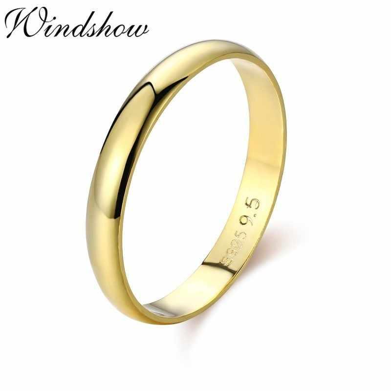 Simple 925 เงินสเตอร์ลิงสีทอง D รูปร่างงานแต่งงานแหวนหมั้นแหวนนิ้วมือผู้หญิงผู้ชายเครื่องประดับ Bague Anillos Anelli