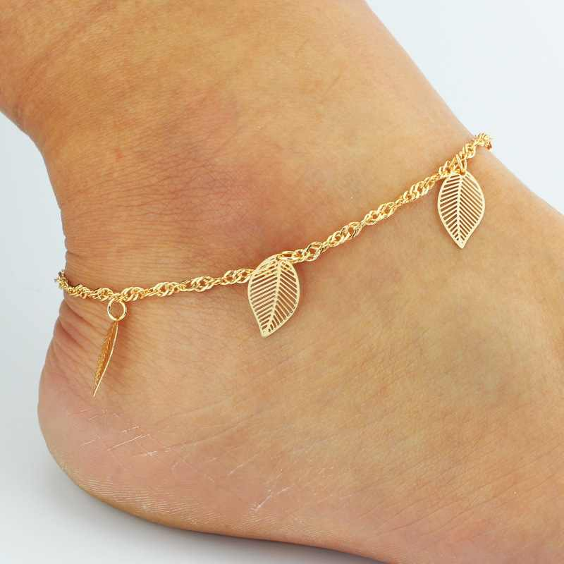 New Fashion Ma'am Leaf Anklet Bride White Retro Foot Ring Accessories Wholesale