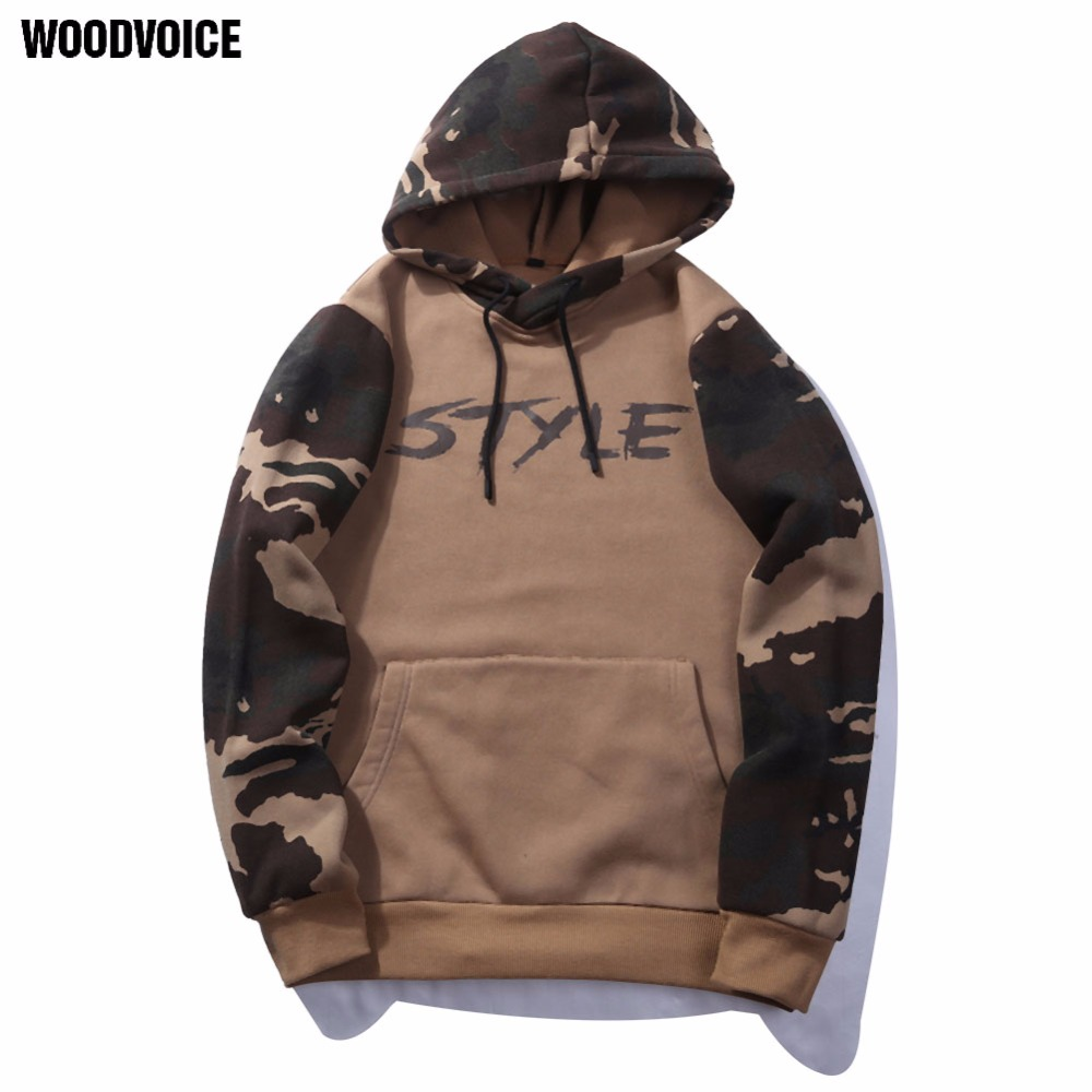 Woodvoice Brand US/Euro Size 2017 New casual Male Streetwear long sleeve Hoodies hooded Men pullover Sweatshirts camouflage WY14