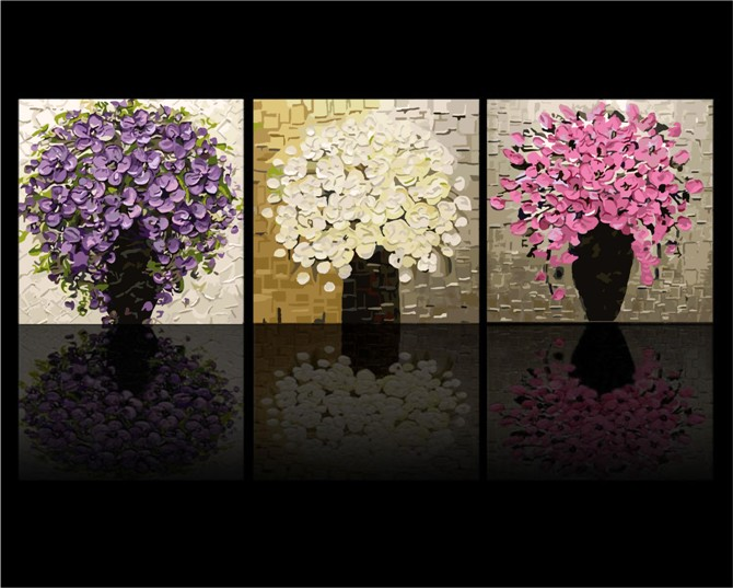 3 Pezzi Grandi Fiori Pittura A Olio Digitale DIY Colorare dai Numeri Dipinta A Mano Senza telaio Dipinti Ad Olio Su Tela Decorazione Della Parete di Casa