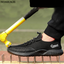 Hipsters Summer Men Breathable Mesh Safety Shoes Fashion Casual Work Tennis Anti-Smashing Puncture Steel Toe