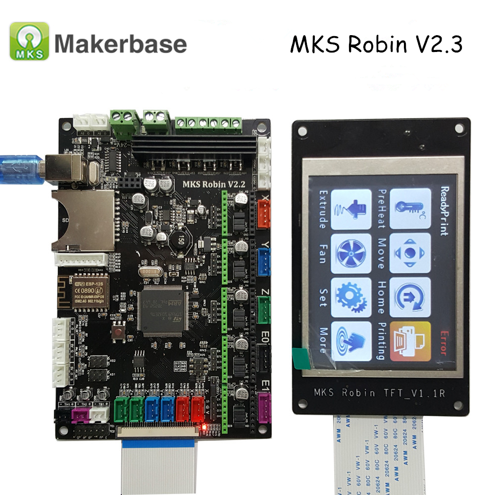 3D Printer Parts MKS Robin V2.2 Controller Motherboard with Robin TFT32 Display closed source software+MKS Robin-WIFI Module cock robin