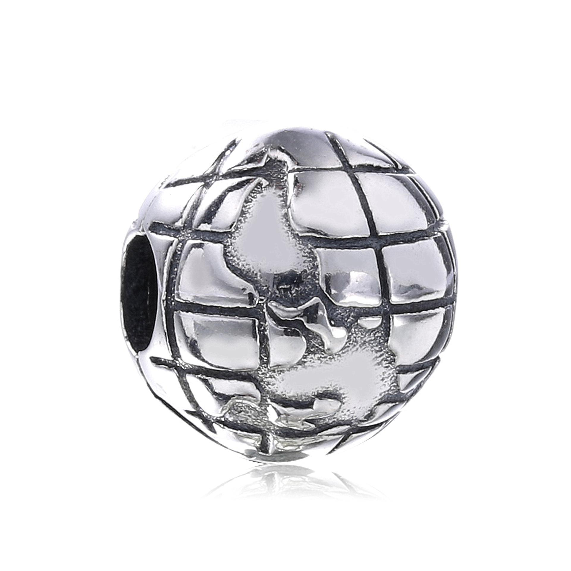 925 Sterling Silver Clip Clasp Map Earth Charms European Bead Fit Snake Chain Pandora Bracelet & Bangle Diy Accessories Jewelry