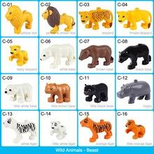 Animal Blocks Set Wild Animal Model Toy Duplo Animal Building Blocks Big Bricks Accessories Zoo Animal Educational Toy Kids Gift цена 2017