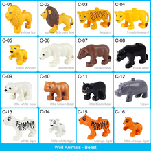 Wild Animal Series Model Figures Big Building Blocks Animals Lion Bear Tiger Educational Toys For Kids Compatible With Duploed цены