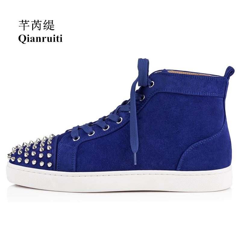 Qianruiti 2019 Winter Royal Men Cow Suede Sneaker Lace-up Spike Toe Flat High Top Men Runway Chaussures Hommes Plus Size39-47 qianruiti men mixed color spike shoes fish scale patchwork multicolor rhinestone sneaker lace up flat high top men camping shoes