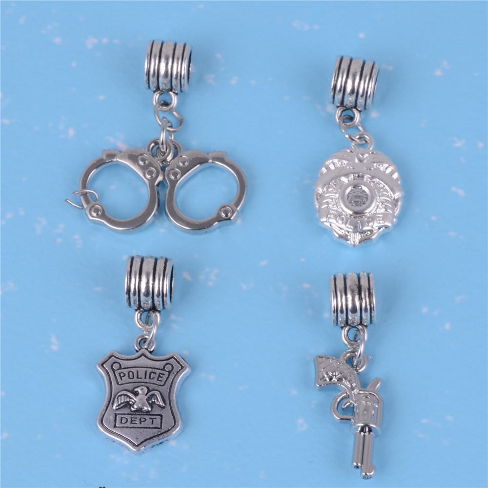 my shape Zinc Alloy Police Badge Handcuffs Gun Charms Pendants Dangles Beads Fit Pandora Bracelet Bangle DIY Jewelry Gift 10pcs