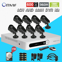 TEATE The video surveillance 600tvl camera security system 8ch cctv AHD 960h network dvr 8 channel HDMI 1080p 1TB hdd CK-191