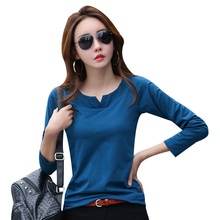 Autumn women t shirt v neck long sleeve tee cotton basic t-shirt plain simple Shirt for tees top CS362