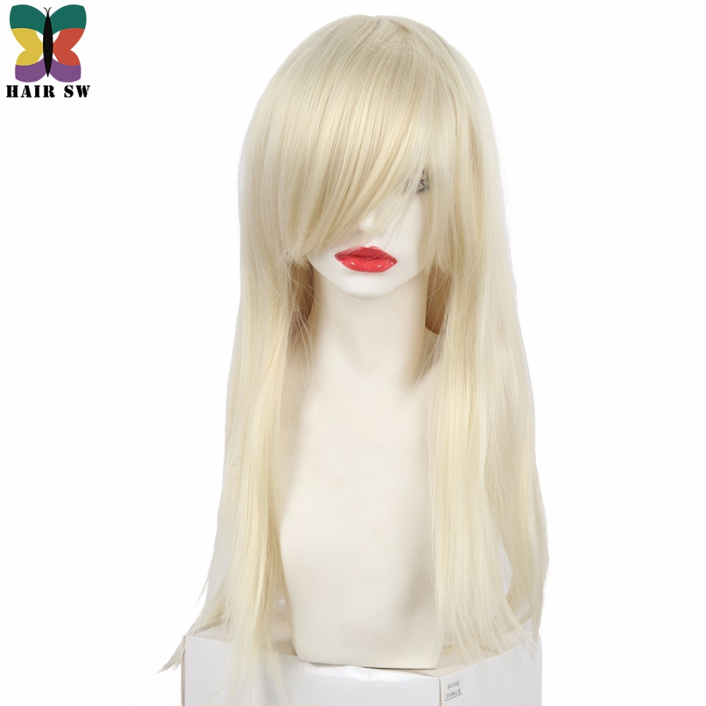 HAIR SW Straight Platinum Blonde Wig Synthetic Natural Cosplay Wig With Bangs Wig Side part for Women