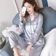 Womens Silk Satin Pajamas Pyjamas Set Long Sleeve Sleepwear Pijama Suit Female Sleep Two Piece Loungewear Plus Size