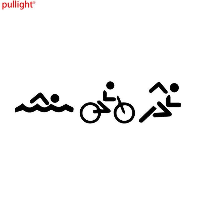Interesting Triathlon Swim Bike Run Car Stickers Personalized - Custom vinyl decals bicycle