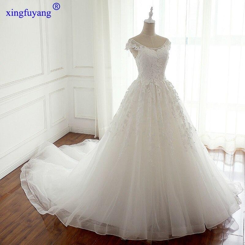 New Style Trajes De Boda Para Mujer Lace Flower Vestido De Noiva Boho Cap Sleeve Royal Train Western Formal Dresses
