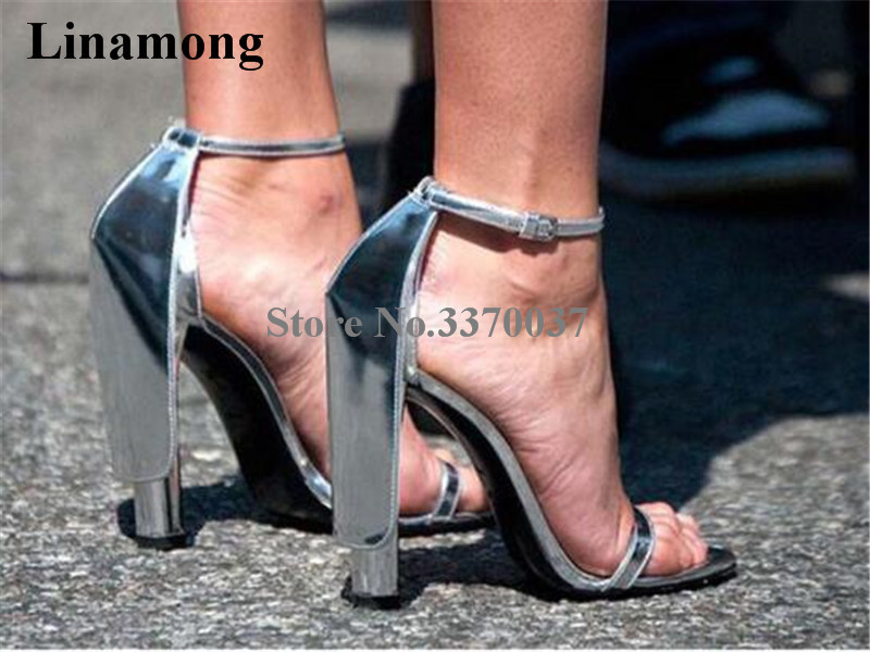 Women Luxury One Strap Gold Silver Chunky Heel Sandals Cut-out Ankle Strap Think High Heel Sandals Formal Dress Shoes Party Shoe fashionable women s sandals with hollow out and chunky heel design