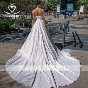 Image 3 - Boho Appliques V neck Wedding Dress 2020 Swanskirt Delicate flowers A Line Princess Court Train Bride Gown Vestido de Noiva F114
