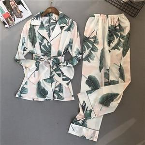 Image 5 - Bahar yaz çiçek baskı kadın Pijama setleri pantolon saten Pijama uzun kollu gecelikler Pijama gecelik Pijama
