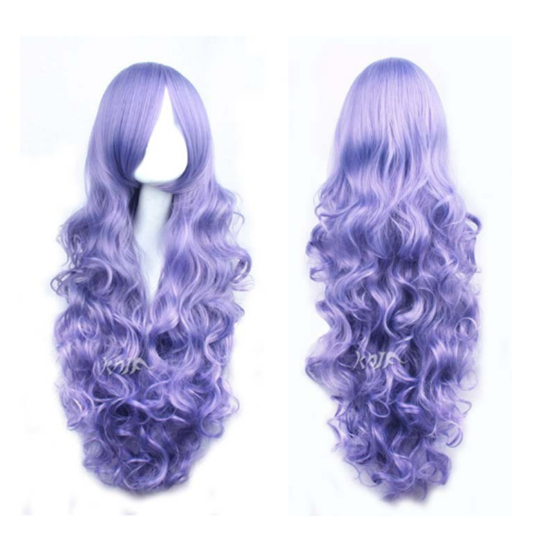 The Cat !COS Cartoon Wig DAIDOUJI TOMOYO Tim Burtons Corpse Bride Hair purple curls 80CM Fantasia Sango 4 purple wig