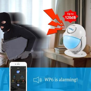 KERUI WIFI Home Security Alarm System Works with Alexa Smart App 120dB PIR Main Panel Door/window Sensor Wireless Burglar Alarm 4