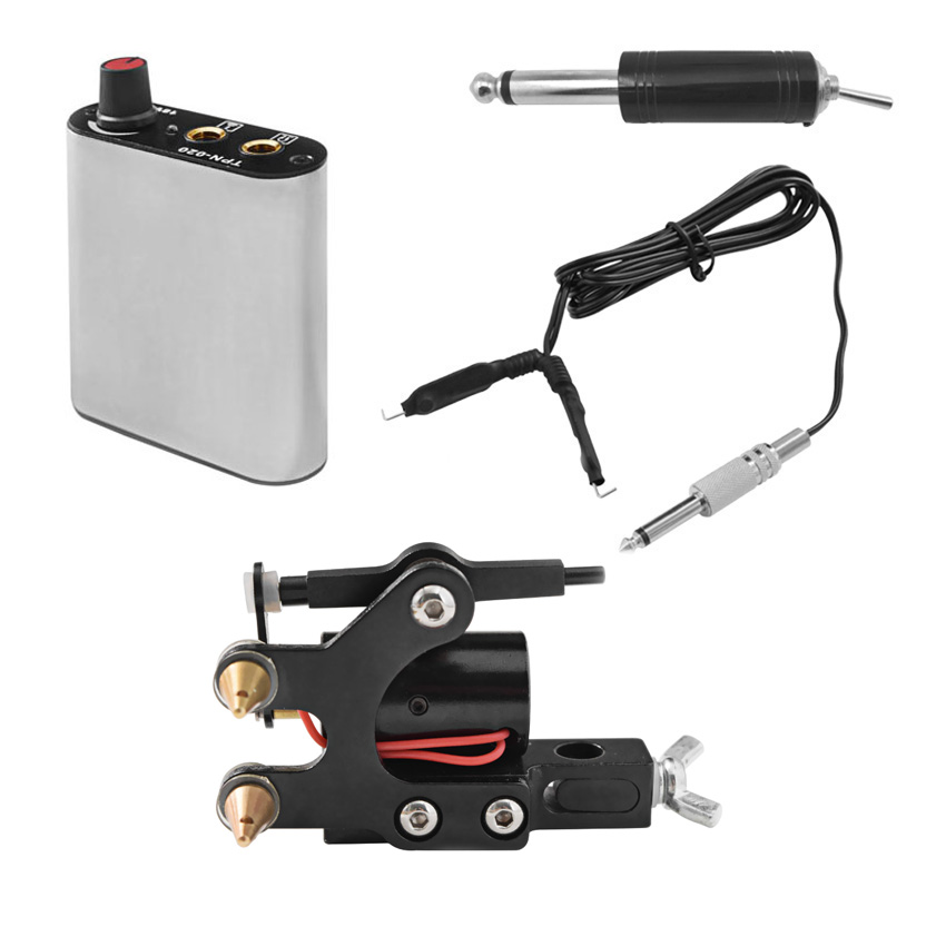Tattoo Rotary Machine Kit with Power Supply Foot Pedal Clip Cord Permanent Makeup for Tattoo Needle Grips Tools Complete Kit Set
