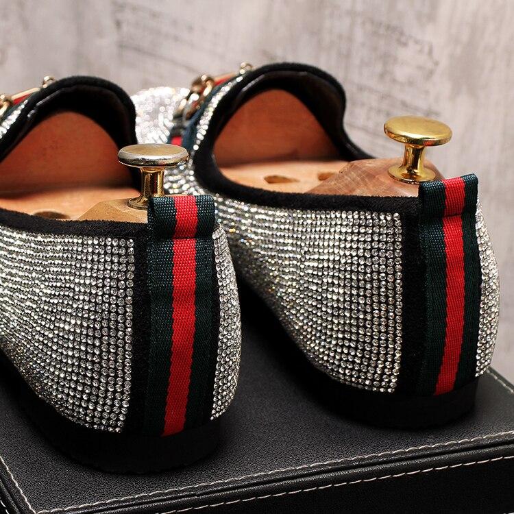Mens Luxury Designer Fashion Leader Rhinestone Charm Platform Shoes Hip Hop Rock Prom Homecoming Zapatos Hombre Moccasins 42