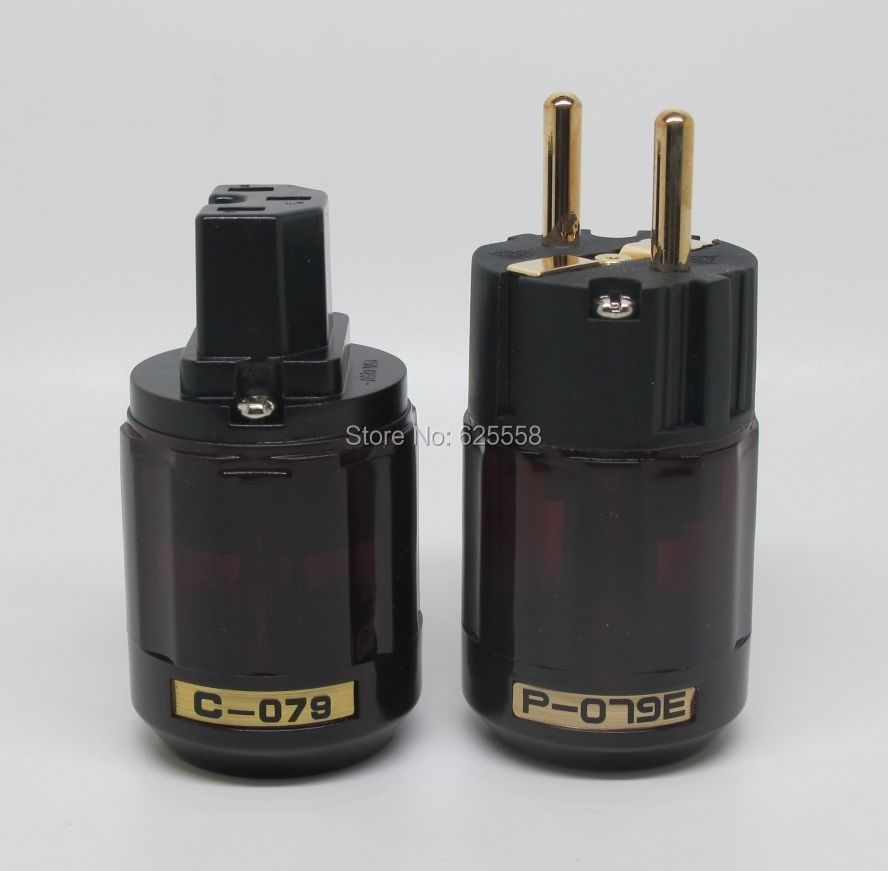 1 Pair Japan Oyaide Gold Plated P-079E C-079 IEC Schuko Eu plug Connector