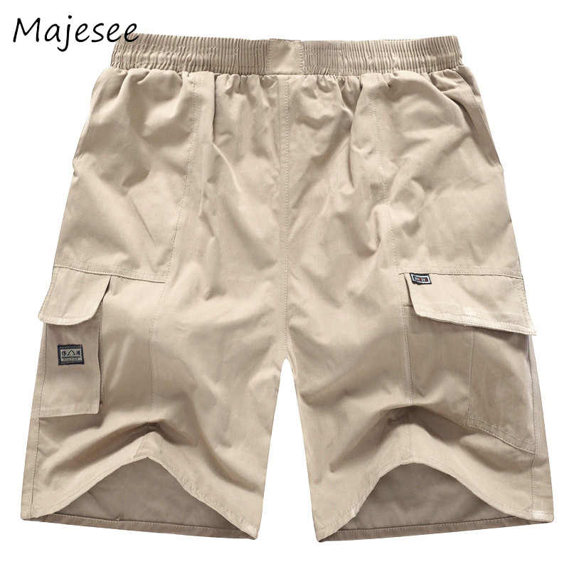 Summer Trendy Breathable Men Casual Shorts Pockets Designed Mens Solid Short Male Elastic Waist Fashion New Loose Style 5 Colors