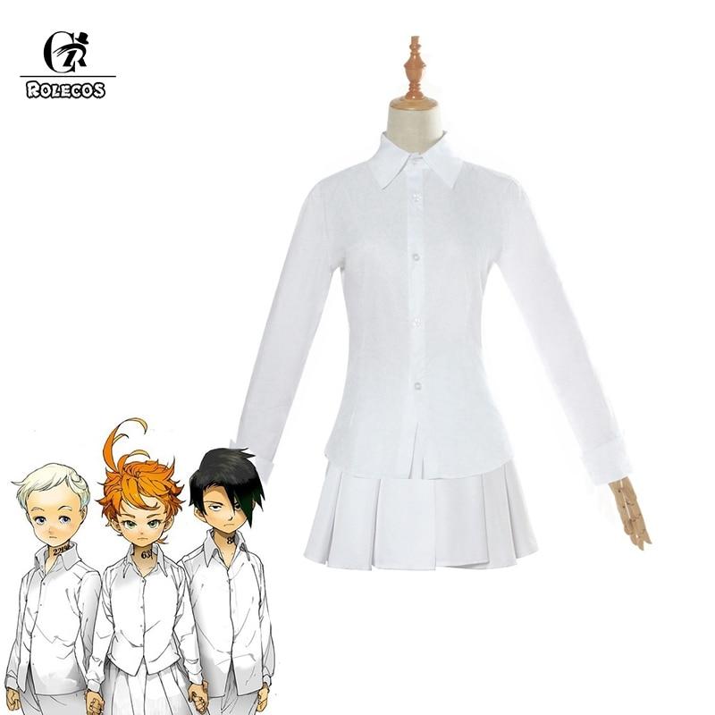 Rolecos White Pleated Shirts Yakusoku No Neverland Cosplay Costume Emma Costume Anime The Promised Neverland Cosplay Women Aliexpress
