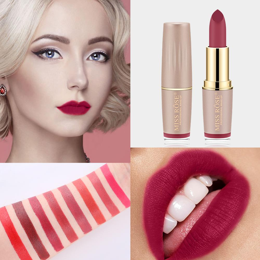 Lip gloss set lipstick set makeup bullets waterproof matte MISS ROSE cosmetics sale products nutrition lasting charming in Lipstick from Beauty Health