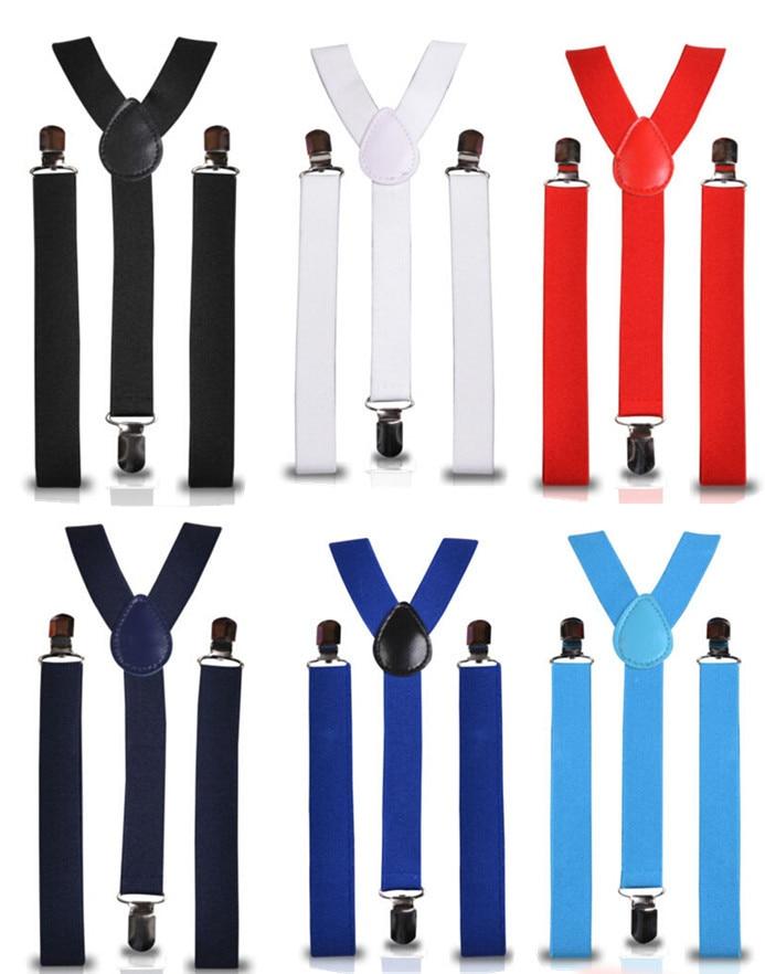 BD001--Women Suspenders Hot-selling 2.5*100cm Adjustable Elastic 3 Clips men Braces Free Shipping 32 Colors 10pcs/lot