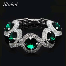 Fashion silver crystal bracelet plated emerald green rhinestone blue stone jewelry pulseiras 1112