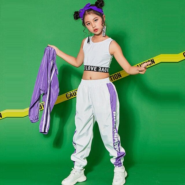 Hip Hop Dance Costume For Girls Jazz Dance Costumes School Performance  Sport Street Clothing Kids Stage Dance Costume BL1265