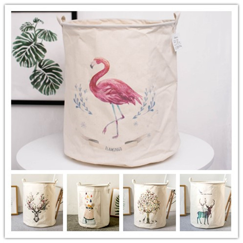 Flamingo 50*40cm Dirty Clothes Baskets Cotton Linen Foldable Laundry Basket For Toys Organizer Barrel Groceries Storage Baskets