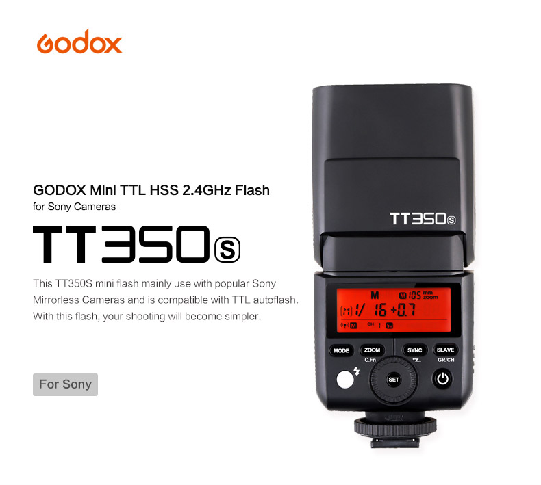 Godox Mini Speedlite TT350S Camera Flash TTL HSS GN36 1/8000S for Sony MI Camera a77II a7RII a7R a58 a99 ILCE6000L / X1T-S godox v860iic v860iin v860iis x1t c x1t n x1t s hss 1 8000s gn60 ttl flash speedlite 2 4g transmission godox softbox filter