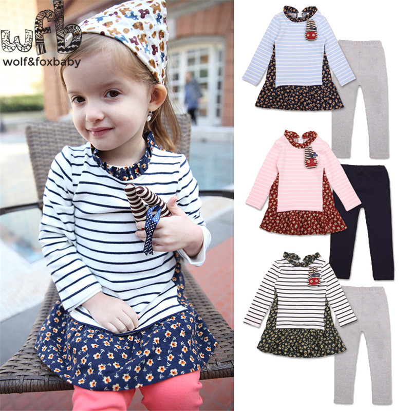 1-4years 2pcs/set girl flower striped dress baby kids children Clothing Clothes Infant Garment sport suits spring autumn fall fashion kids baby girl dress clothes grey sweater top with dresses costume cotton children clothing girls set 2 pcs 2 7 years