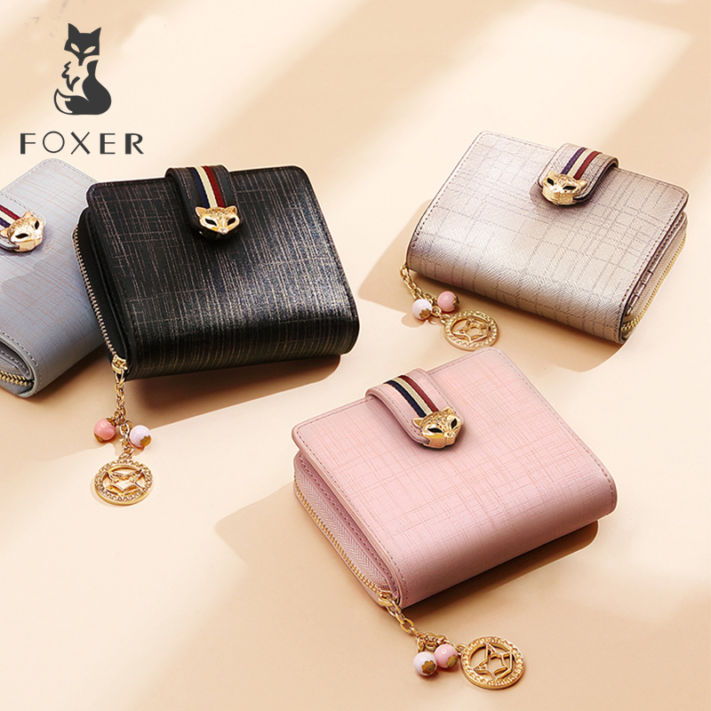 FOXER Short Wallet Purses High-Quality Women Ladies Luxury Fashion Brand Stylish Simple