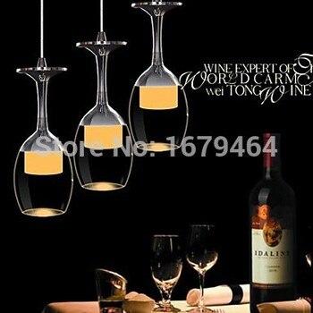 Alta qualidade conduziu a luz do candelabro copo wineglass pingente lâmpada para sala de estar barra saloon sala jantar