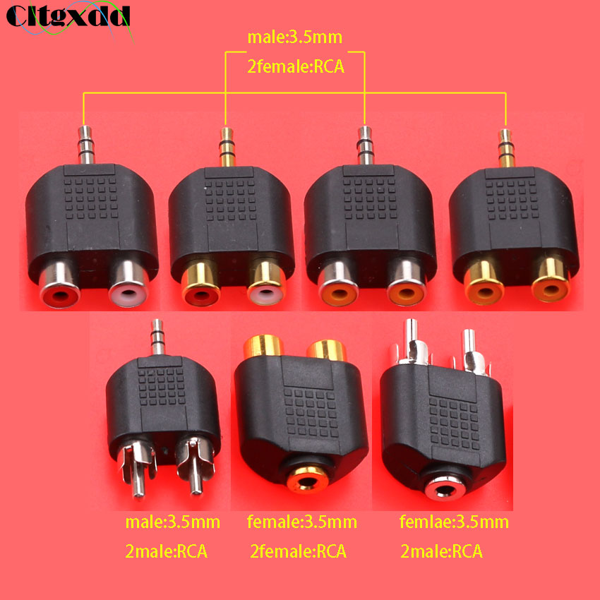cltgxdd 3.5mm plug to 2 RCA jack male to female 3.5 to AV Audio Connector 2 in 1 Stereo Headset Dual Headphone Audio Adapter(China)