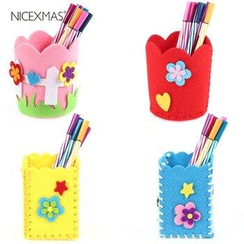Kit de costura para puntadas a mano de 4 Uds., soporte para bolígrafos de fieltro hazlo-tú-mismo, contenedor de lápices, organizador de papelería con aguja, hilo de seguridad para niños